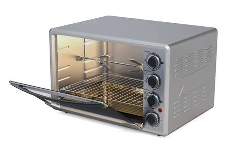 Opened Convection Toaster Oven with Rotisserie and Grill, 3D rendering isolated on white background Standard-Bild - 106486361
