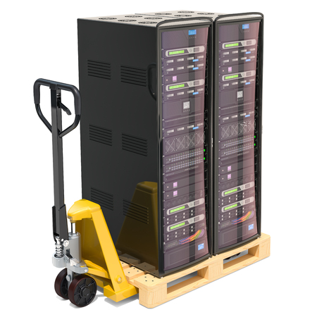 Pallet truck with computer server racks, delivery concept. 3D rendering