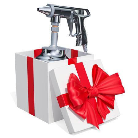 Portable Sand Blaster Gun inside gift box. 3D rendering isolated on white background Stock Photo