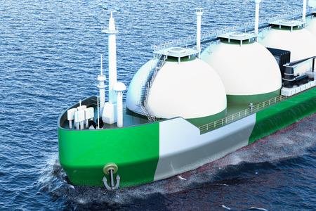 Nigerian gas tanker sailing in ocean