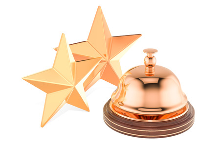 Reception Service Bell with 2 Stars Rating concept, 3D rendering isolated on white background