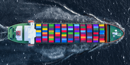 Freighter ship with cargo containers sailing in ocean, top view. 3D rendering
