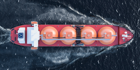 Gas tanker sailing in ocean, top view. 3D rendering Stock Photo