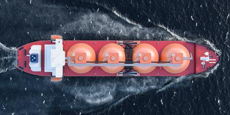 Gastanker, der im Ozean segelt, Draufsicht. 3D-Rendering