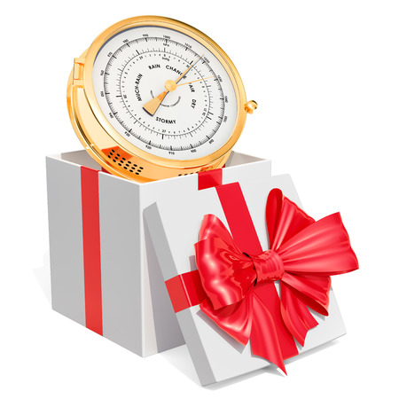 Gift box with barometer, 3D rendering isolated on white background Stock Photo