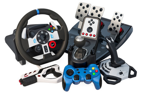 Set of gaming input devices for computer, 3D rendering isolated on white background Stockfoto - 106656208