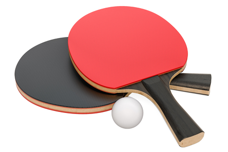 Table tennis equipment, 3D rendering isolated on white background
