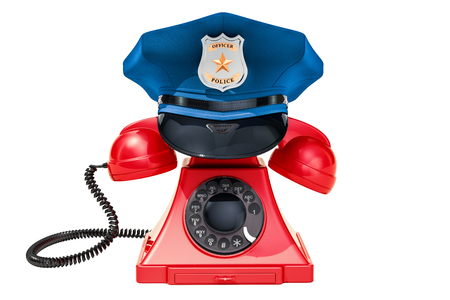 Phone with Police Cap, 911 concept. 3D rendering isolated on white background