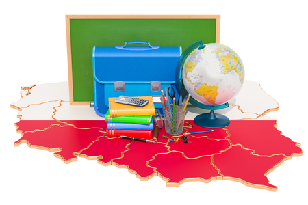 Back to school or education in Poland concept, 3D rendering