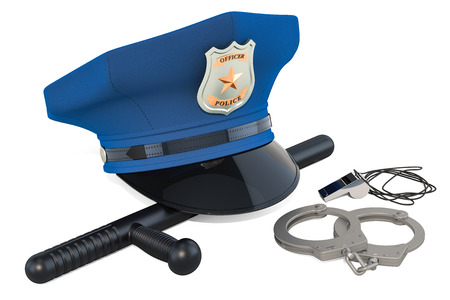 Police cap, handcuffs, whistle and baton. 3D rendering isolated on white background