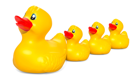 Rubber duck family, 3D rendering isolated on white background Stock Photo