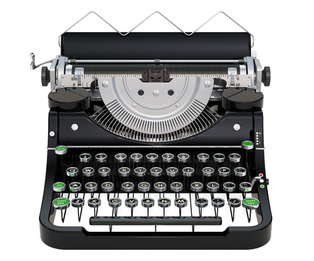 Typewriter front view, 3D rendering isolated on white background