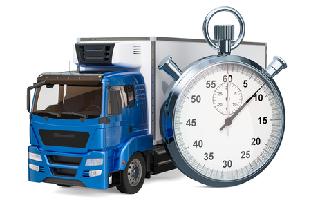 Fast delivery concept. Truck with chronometer, 3D rendering isolated on white background Foto de archivo