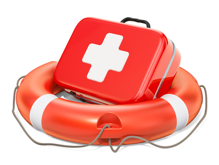 Lifebuoy with First Aid Kit, 3D rendering isolated on white background Stock Photo