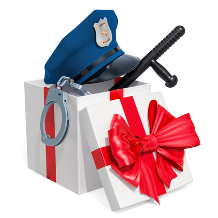 Gift concept. Police cap, handcuffs, gun and baton inside gift box. 3D rendering isolated on white background