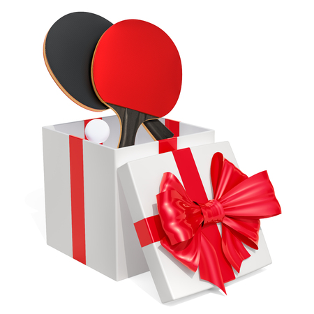 Gift concept, table tennis inside gift box. 3D rendering isolated on white background
