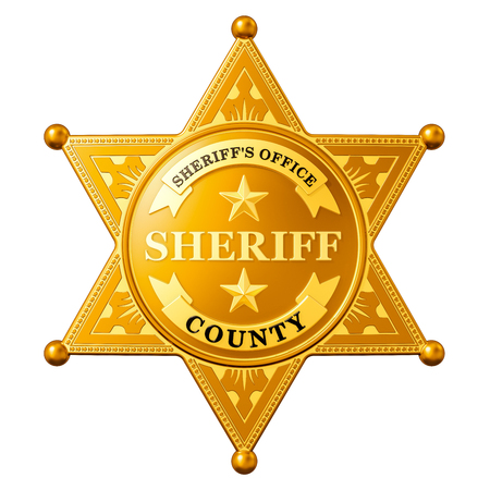 Sheriff Star Badge, 3D rendering isolated on white background 写真素材