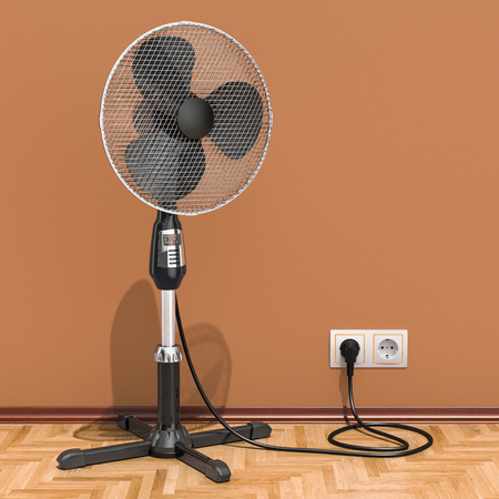 Standing pedestal electric fan in interior, 3D rendering