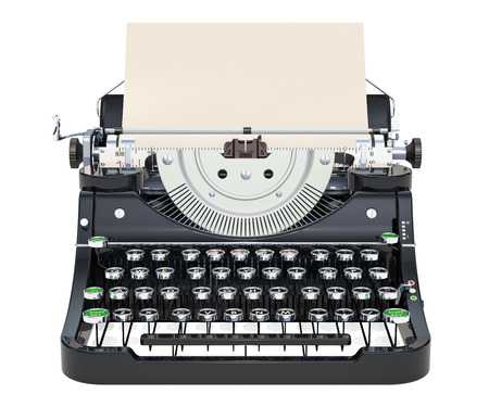 Typewriter with paper, front view. 3D rendering isolated on white background Stock Photo