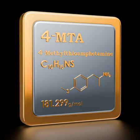 4-Methylthioamphetamine (4-MTA). Icon, chemical formula, molecular structure. 3D rendering