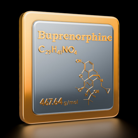Buprenorphine. Icon, chemical formula, molecular structure. 3D rendering Stock Photo