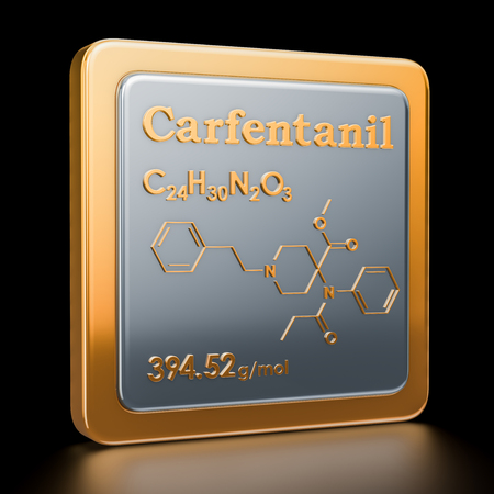 Carfentanil or carfentanyl. Icon, chemical formula, molecular structure. 3D rendering Stock Photo