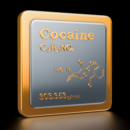 Cocaine. Icon, chemical formula, molecular structure. 3D rendering