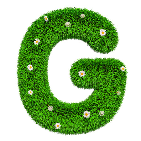 Green letter G from grass with flowers, 3D rendering isolated on white background