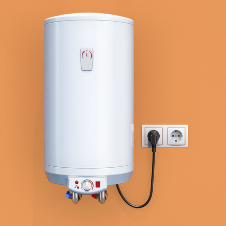 white tank electric water heater in interior, 3D rendering