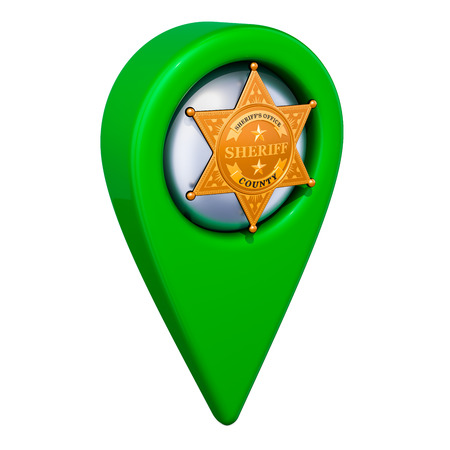 Map pointer with sheriff star badge, 3D rendering isolated on white background