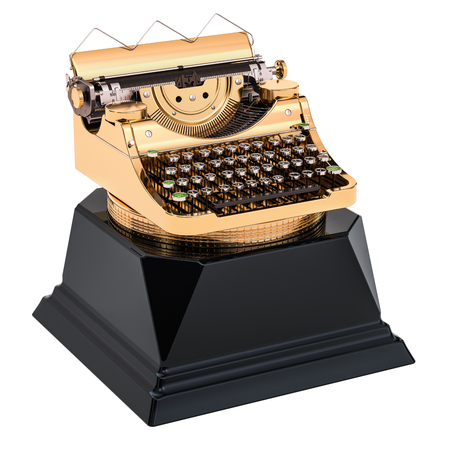 Golden typewriter award. Best publication or writer concept, 3D rendering isolated on white background Reklamní fotografie