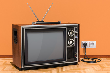 Retro TV set in room on the wooden floor, 3D rendering Stock Photo