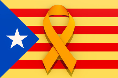 Yellow ribbon on the Catalonian flag. Catalonia independence concept, 3D rendering isolated on white background