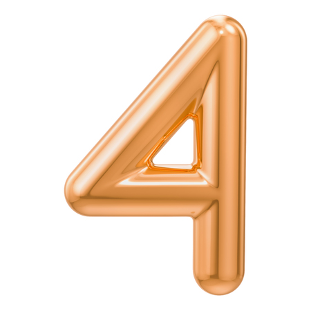 Golden number 4, 3D rendering isolated on white background