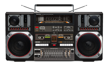 Boombox, 3D rendering isolated on white background 写真素材