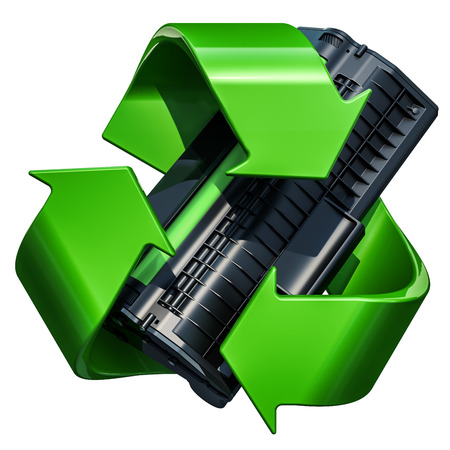 Green recycle symbol with toner cartridge, 3D rendering isolated on white background