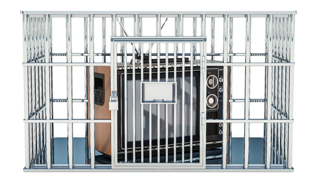 TV set inside cage, prison cell. Freedom of Information, prohibition concept. 3D rendering