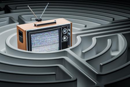 TV set inside labyrinth maze. 3D rendering