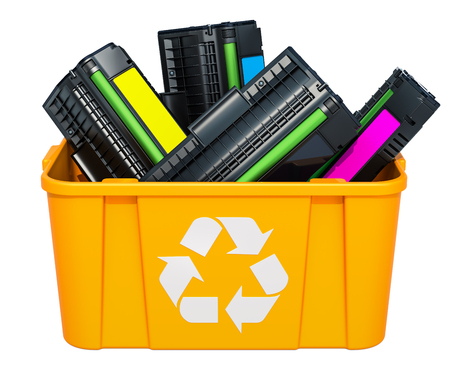 Used laser printer cartridges in recycling bin, 3D rendering isolated on white background 版權商用圖片