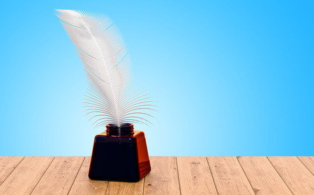Feather and ink bottle on the wooden table. 3D rendering Standard-Bild - 108429592