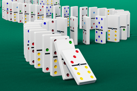 Domino Effect, 3D rendering on green background Stock Photo