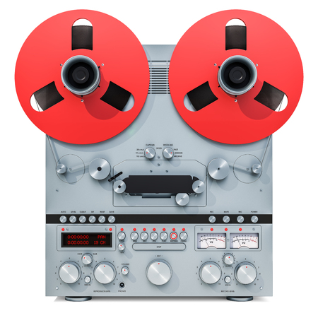 Retro reel-to-reel tape recorder, 3D rendering isolated on white background