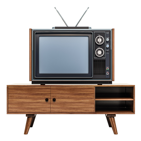 Retro TV set on the stand, 3D rendering isolated on white background