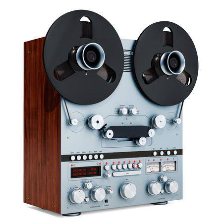Retro reel-to-reel tape recorder closeup, 3D rendering