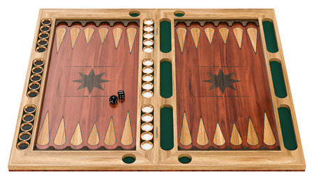 Backgammon, board game. 3d rendering isolated on white background Stock Photo