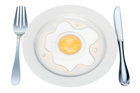 Plate with fried egg, 3D rendering isolated on white background Reklamní fotografie