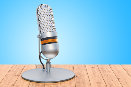 Retro microphone on the wooden table, 3D rendering