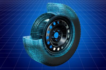 Visualization 3d cad model of car wheel, blueprint. 3D rendering