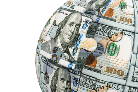 Dollar Globe from puzzle pieces. 3D rendering isolated on white background