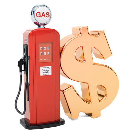Dollar symbol with gas pump, 3D rendering